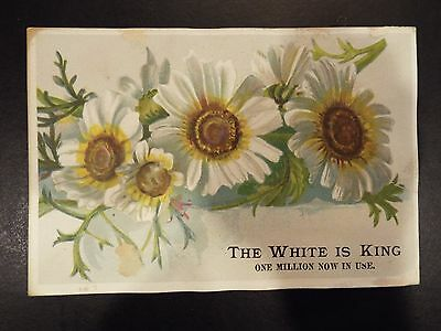 "White Sewing Machine Co. ""The White is King"" Victorian Trade Card 1891"