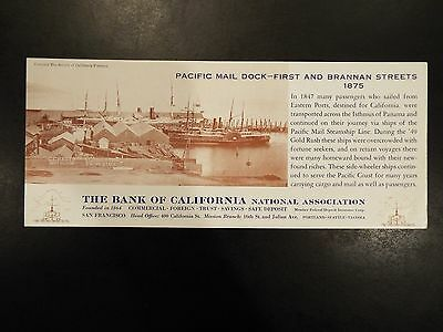 Vintage Bank of California Pacific Mail Dock-First and Brannan Streets Blotter