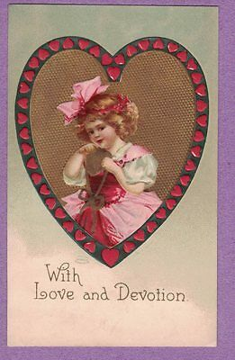 0117A Love & Devotion Valentine Vtg Pc A/s Clapsaddle Girl Pink Bow Large Heart