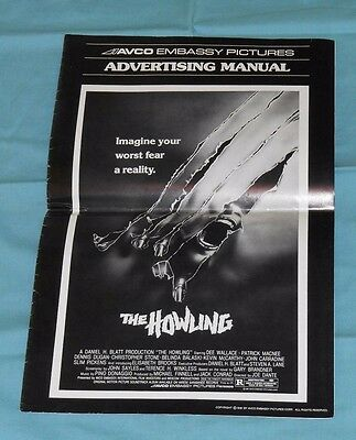 original THE HOWLING PRESSBOOK Dee Wallace John Carradine