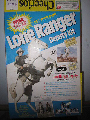1980 Lone Ranger Cheerios partial Cereal Box, Deputy Kit Offer,General Mills