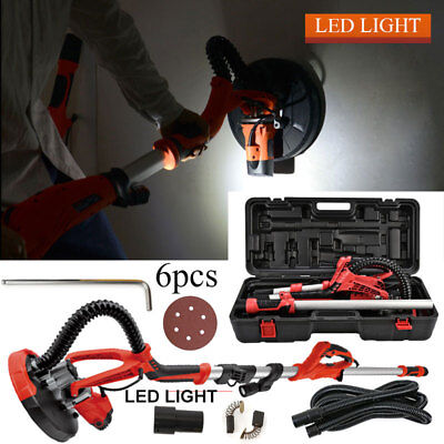 Drywall Sander 750W Electric Swivel Sanding Pad Extended Wall +LED Light +Case