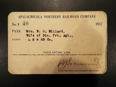 Apalachicola Northern Florida Railroad Company Pass 1917