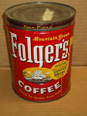 "Vintage 1960's Folgers Coffee Can Metal Lid 2lb ""Coffee Break with a latin Beat"""