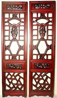 Antique Chinese Screen Panels (2525)(pair), Cunninghamia wood; Circa 1800-1849