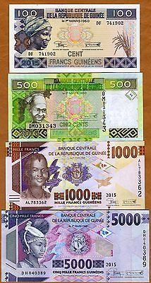 SET Guinea, 100;500;1000;5000 francs, 2015 (2016), Pick New, UNC   Redesigned