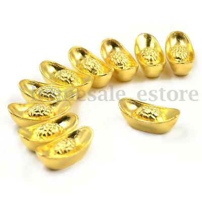 10Pcs Chinese Lucky Money Golden Ingot Feng Shui Fortune Home Office Decoration