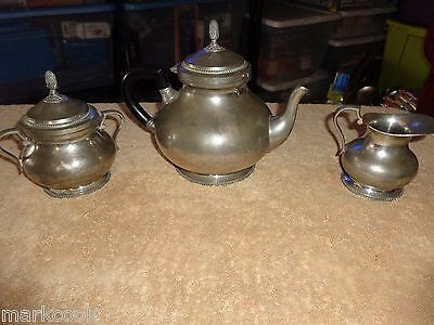 Classic Style 3 Pc Etain 95% Pewter Tea Service  Made In Thailand