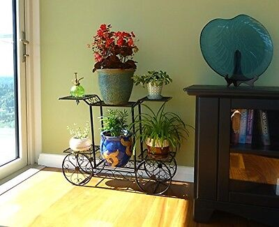 Flower Pot Holder 6 Tier Cart Design Indoor Outdoor Decor Metal Plant Stand Rack