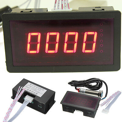Red 4 Digital LED Tachometer RPM Speed Meter + NPN Hall Proximity Switch Sensor