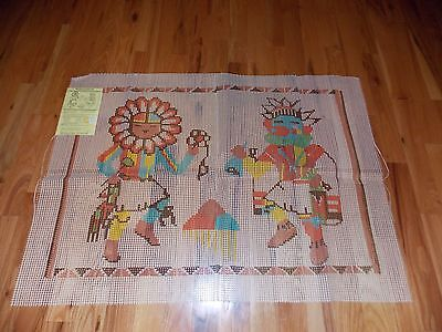 Twin Kachina Latch Hook Canvas Vintage Large 28 x 42 Inches