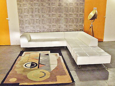BoConcept MILOS Corner Sofa Couch Lounger In Luxury Italian Ivory White Leather