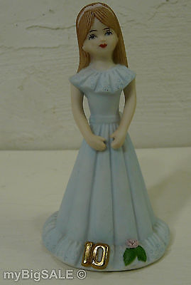 "Growing Up Birthday Girls Age 10 Enesco 1982 Girl Blue Dress Flower 5.25"" Tall"