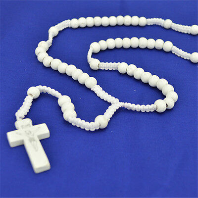 White Rope Wooden Beads Religious Christian Rosary With Cross for all Occasions
