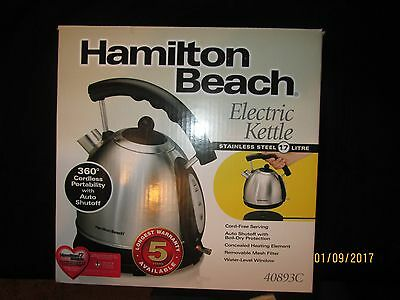 Hamilton Beach 1.7L Stainless Steel Electric Kettle 40893, NEW IN BOX