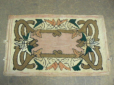 Vintage Folk Art Hooked Rug, Maple Branches & Leaves, Brown Green Pink Tan 36x22