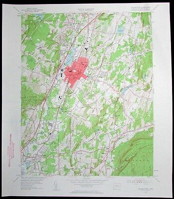 Wallingford Connecticut Quinnipiac River vintage 1958 old USGS Topo chart