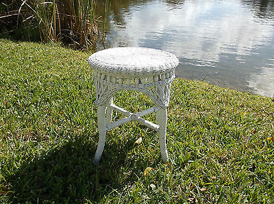 Antique Victorian Style Vintage Wicker Stool
