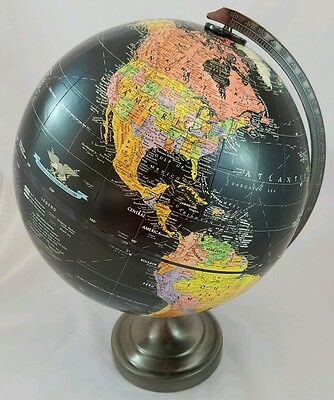 "Replogle 12"" Black Ocean Starlight Raised Topography Globe w/ Metal Stand"