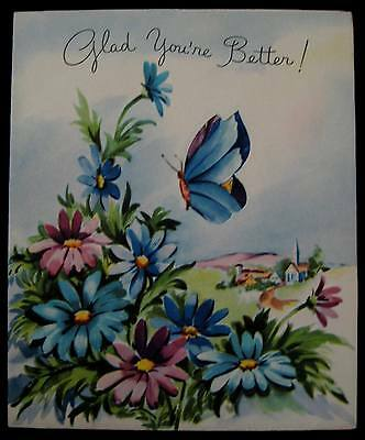 Vintage Feeling Better Greeting Card Embossed Cut Out Pop Up Daisies & Butterfly