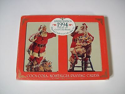 1994 COCA COLA SANTA CLAUS PLAYING CARDS IN COLLECTIBLE TIN 2 decks SEALED