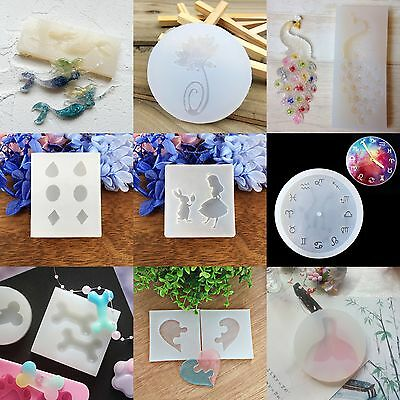 DIY Silicone Jewelry Crystal Pendant Making Mould Resin Necklace Hand Craft Gift