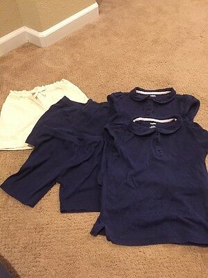 GYMBOREE Girls Blue Polo Khaki Short Bike Shorts  Size 7 School Uniform Lot of 5