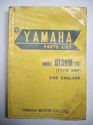 Used Genuine Yamaha DT50M Parts List '1977 - 78' 2M9-28198-E5