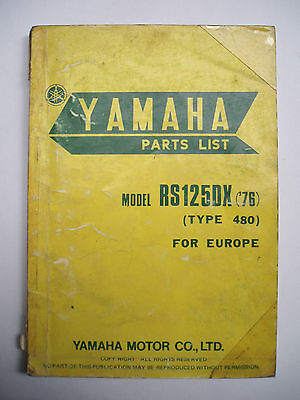 Used Genuine Yamaha RS125DX Parts List '1975 - 76' 1L2-28198-E5