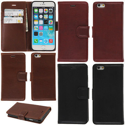 """For Apple iPhone 6 / iPhone 6S 4.7"""" Real Genuine Leather Flip Wallet Case Cover"""