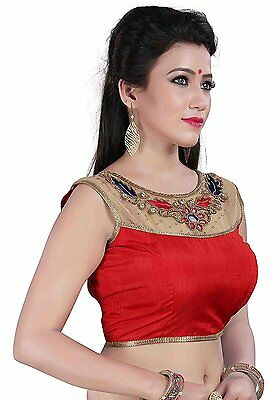 Red Ready Made Semi-Stitched Saree Blouse Choli Wedding Women Indian Crop Top