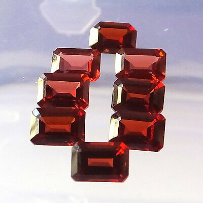 7X5 MM Octagon Cut Natural Unheated Red Garnet Faceted Gemstone 8 Pieces Lot