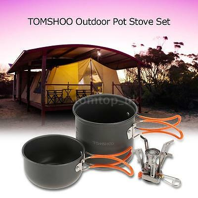 Outdoor Camping Cookware Piezoelectric Ignition Stove Cook Picnic Pot Set U9Y1