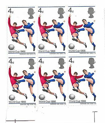 GB 1966 World Cup  blocks of 6  margin Mint  never hinged SG 693 - 695