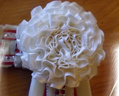 Diy Browbands - Satin Carnations Suit 40Mm 1 Row Rings - Quality Bling