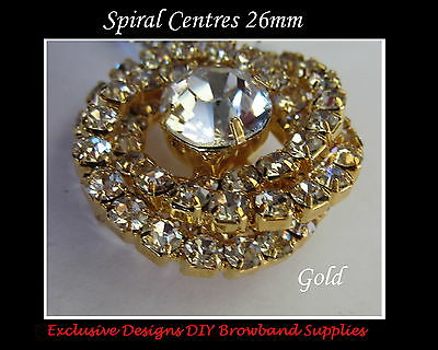 DIY BROWBANDS - 26mm Spiral Centres/Buttons - Gold/Silver- QUALITY BLING