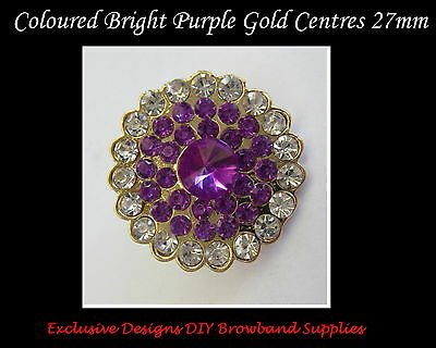 DIY BROWBANDS - 27mm  Purple Gold Centres/Buttons - QUALITY BLING