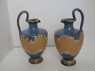 "Antique Pair  Royal Doulton Lambeth  Ewers 9""  Beige & Blue W Flowers Circa 1900"