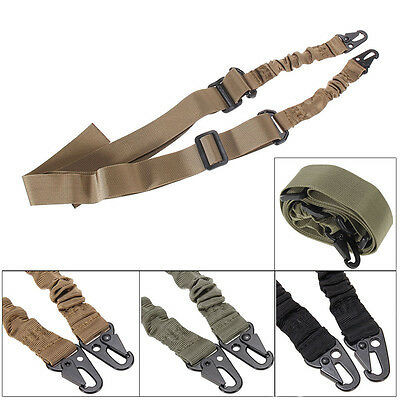 Tactical Dual Point Adjustable Bungee Rifle Gun Sling System Strap 3 Color