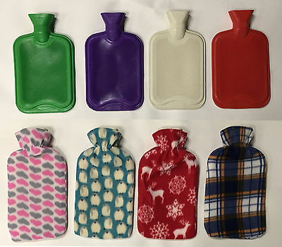 2Ltr LARGE HOT WATER NATURAL RUBBER BOTTLE WARMER&FLEECE COVER MIX PACK ASSORTED