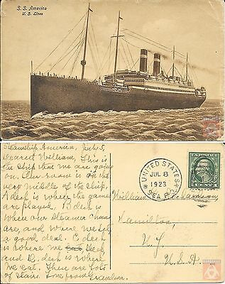 USA - Carte Postale PAQUEBOT - AMERICA - Posted at Sea 1923