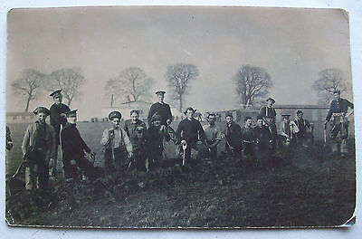 c1915 WW1 SUSSEX YEOMANRY DIGGING TRENCHES CANTERBURY CAMP  - BRITISH ARMY RPPC