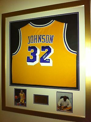 Magic Johnson Signed Jersey Framed (PSA DNA Authentic)