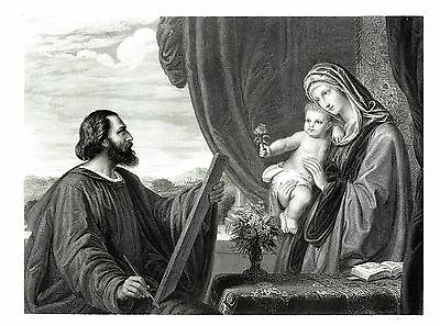 St Luke Painting the Virgin -  Eng. by L. Stocks after Eduard von Steinle c1850