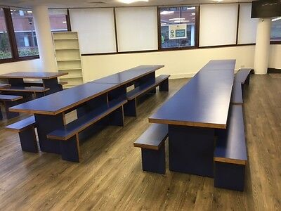 James Burleigh Canteen Table and Benches in Blue and Walnut