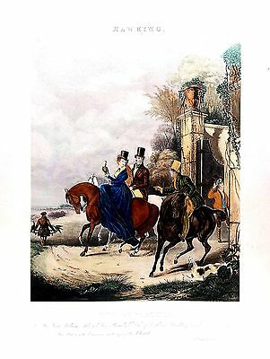 Falconry - The Departure - H/C Lithograph after Francis Calcraft Turner - 18x23