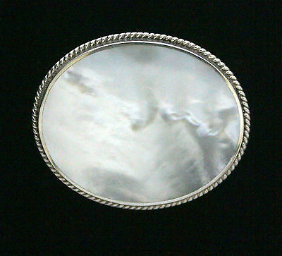 End Of Line. Big Oval Silver Brooch With Onyx Or M.o.p. - Choose Black Or White