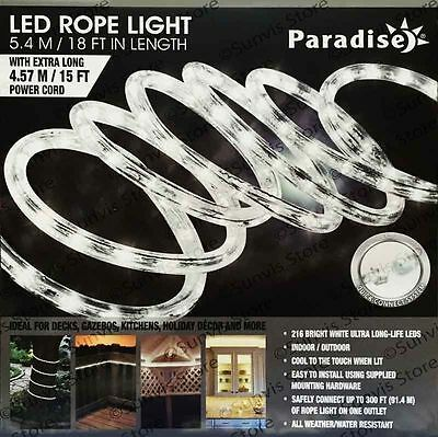 PARADISE WHITE LED ROPE LIGHT 18FT Indoor Outdoor Decoration Extendable New