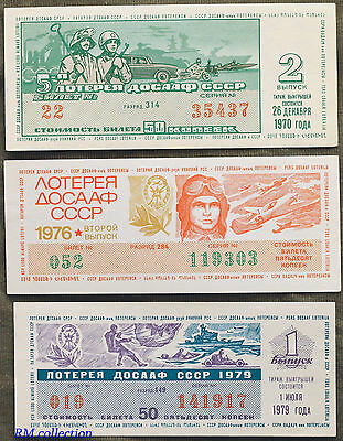lot of 3 Military lottery tickets 1970-1979 USSR