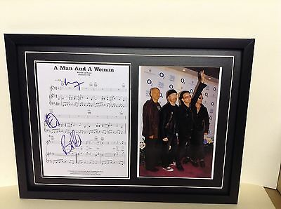U2 Hand Signed/Autographed Songsheet with a Photo & COA